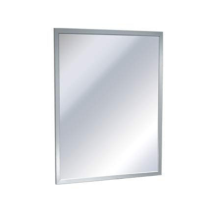Bobrick 165 Series 430 Stainless Steel Channel Frame Glass Mirror, Bright Finish, -