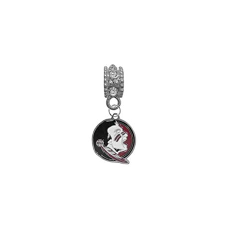 - Florida State Seminoles FSU New Logo Clear Rhinestone/Gem Charm with Connector - Universal European Slide On Charm - Classic & Original Style Perfect for Bracelets, Necklaces, DIY Jewelry