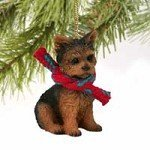 (Yorkshire Terrier Puppy Cut Christmas Ornament)
