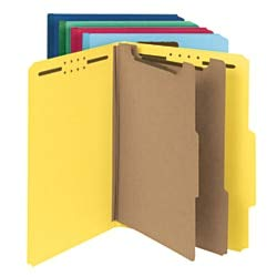 Smead 100% Recycled Pressboard Classification Folder, 2 Dividers, 2