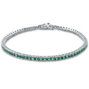 Bezel Set Elegant 7'' Princess Emerald 925 Sterling Silver Tennis Bracelet - Jewelry Accessories Key Chain Bracelet Necklace Pendants