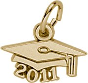 Graduation Cap 14k Gold Charm - Rembrandt Charms 2011 Graduation Cap Charm, 14K Yellow Gold