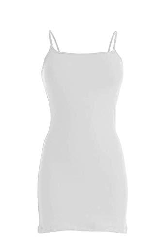 (VIV Collection Basic Long Cami Tank Top (XX-Large, White) New)