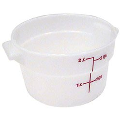 2 Quart Round Storage Container - Cambro RFS2148 White Poly Round 2 Qt Storage Container