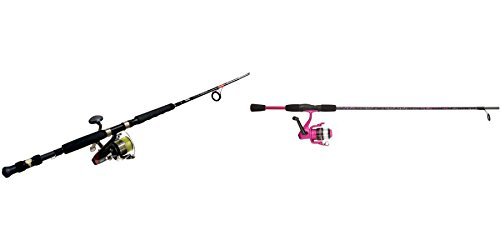 Zebco Hawg Seeker Fishing Combo with Bite Alert and Shakespeare Amphibian Youth Spinning Combo (Pink)