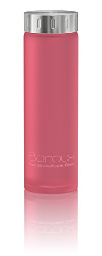 Boroux Spectrum Glass Water Bottle .5 liters- Protective Silikote Technology Adhered to Eco Friendly BPA Free Pure Borosilicate Glass. Perfect for Essential Oils, Juicing, & Smoothies