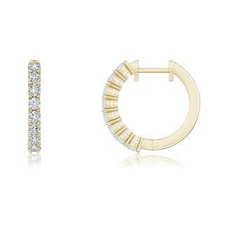 2mm Diamond Airline-Set Diamond Hinged Hoop Earrings