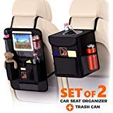 Confachi Backseat Organizer + Car Trash Can | Bundle of Car Garbage Can with Lid and Car seat Organizer for Kids with Ipad Holder and Cup Holder and Extra Car Storage Pockets ( Black)