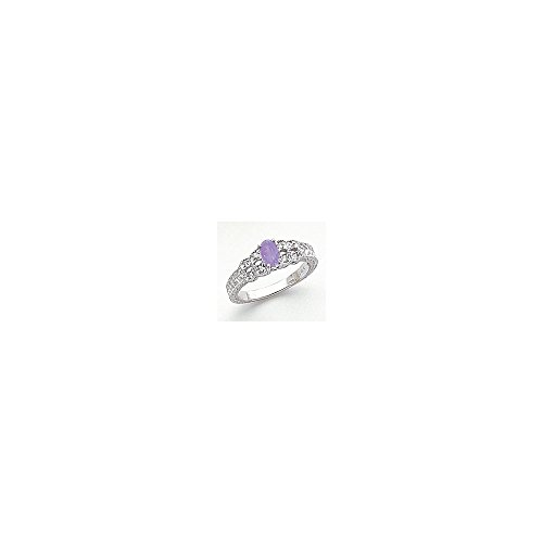 Jewelry Adviser Rings 14k White Gold 6x4mm Oval Tanzanite VS Diamond ring Diamond quality VS (VS2 clarity, G-I color) ()