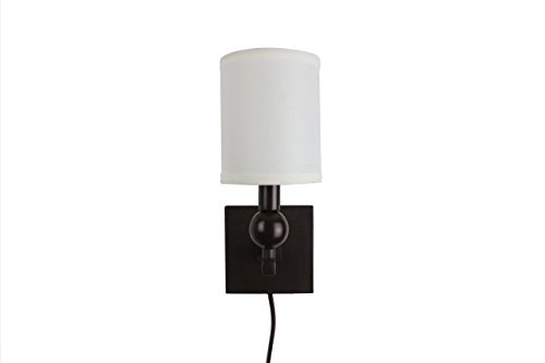 Urbanest Zio Single Bulb Cord Wall Sconce with Off White Linen Shade, Oil-rubbed Bronze Finish ()