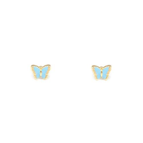 Boucles d'Oreilles Enfant papillon émail bleu Or Jaune 18 Carats