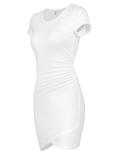 Missufe Women's Summer Short Sleeve Fitted Ruched Bodycon Irregular Mini Sheath Dress (Ivory White-01, X-Large)