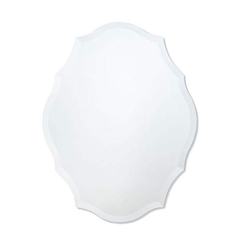 Scalloped Mirror White - Frameless Mirror | Bathroom, Bedroom, Accent Mirror | Oval with Scalloped Edges