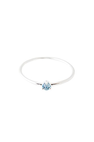 (HONEYCAT Blue Aquamarine Crystal Point Ring in Sterling Silver Plate | Minimalist, Delicate Jewelry (Silver, 5))