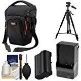 Vidpro TL-35 Top-Load DSLR Camera Holster Case (Large) with EN-EL15 Battery & Charger + Tripod + Kit for Nikon D7100, D7200, D610, D810