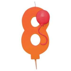 Creative Converting Molded Numeral with Balloon Birthday Cake Candle, 8, Orange