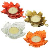 Fall Harvest Leaf Glass Tealight Candle Holders Set of 4 Thanksgiving (Light Orange Tea Holders)