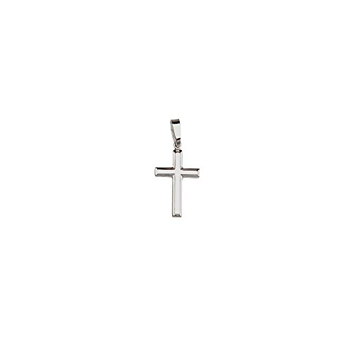 Sterling Silver Rhodium Plated Embossed Cross Pendant