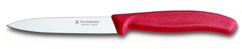 Victorinox 4-Inch Swiss Classic Paring Knife with Straight Blade, Spear Point, Red (Point Knife Spear Blade)