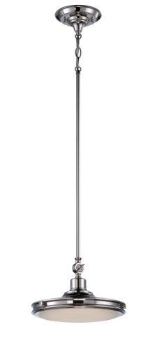 Nuvo Lighting 62/165 Houston LED One Light Pendant 20 Watt 1420 Lumens Soft White 2700K KolourOne LED Technology Frosted Glass Polished Nickel Fixture
