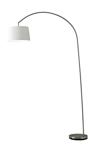 Adesso 5098-22 Goliath 83' Arc Lamp, Satin Steel, Smart Outlet Compatible