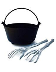 Halloween Witch Cauldron Serving Bowl and Skeleton Hand and Arm Tongs Set ~ 3-Piece Set includes One Plastic Witch Cauldron Salad Bowl and One Pair of Skeleton Bones Serving Tongs ()