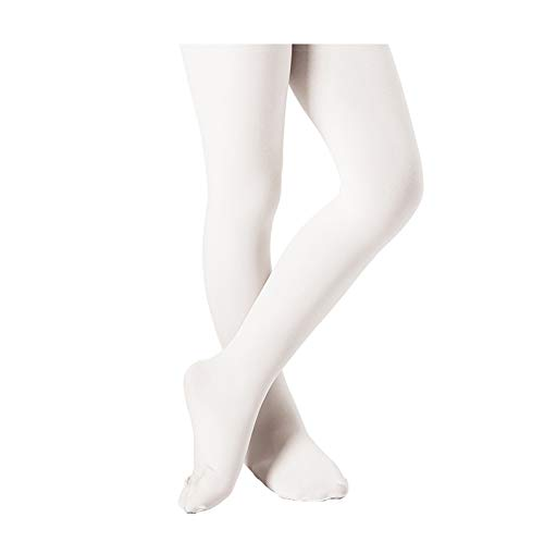 DIPUG Ballet Tights for Girls Footed Pro Ultra-soft Durable Dance Tights for Toddler (White 1 Tights, L) -