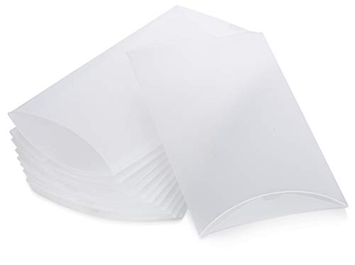 (Large Premium Frosted Plastic Pillow Favor Gift Boxes, 24 Pack, for Weddings, Parties, Showers, Birthdays, and Invitations)