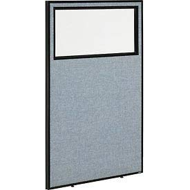 36-1/4''W x 60''H Office Partition Panel with Partial Window, Blue