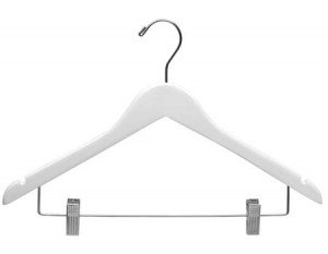 The Great American Hanger Company Wooden Combo Chrome Hardware, Box of 25 Hanger, Large, White, Piece