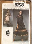VINTAGE UNCUT & OOP SIMPLICITY 8728 DESIGNER JESSICA/GUNNE SAX 2 PC WESTERN DRESS SEWING PATTERN JUNIOR MISS SIZE (Vintage Gunne Sax)