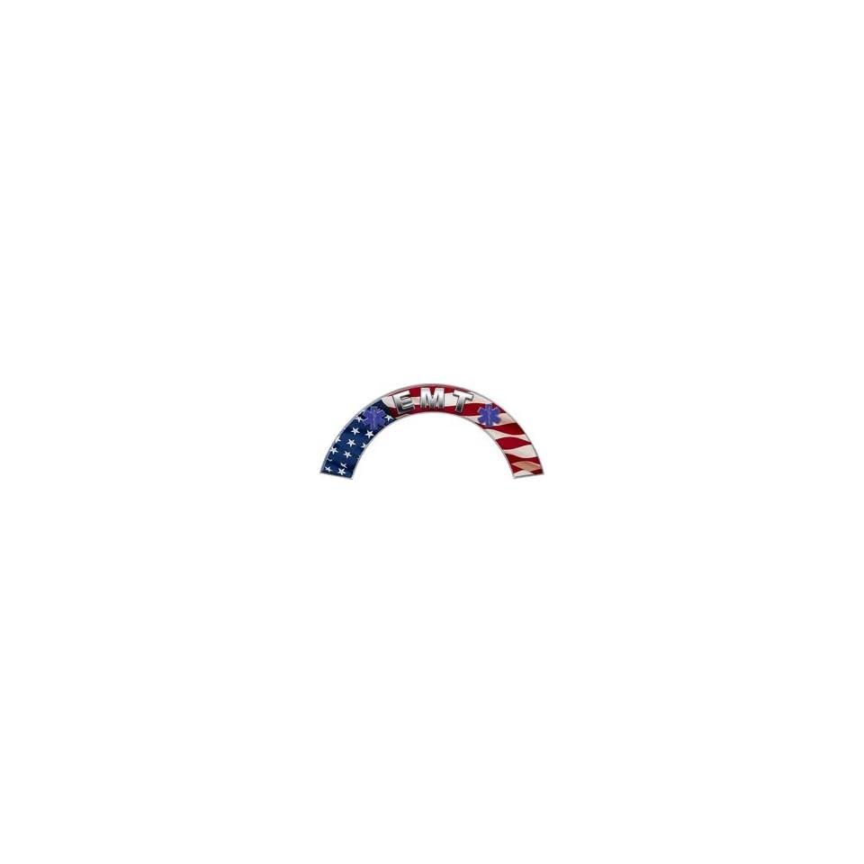 EMT American Flag Firefighter Fire Helmet Arcs / Rocker Decals Reflective