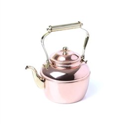 2.5-quart Solid Copper Tea Kettle with Brass Handle For Use On All Gas And Electric Stoves.