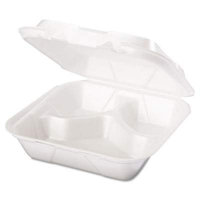 - Genpak SN243 3 Medium Compartment Snap It Foam Hinged Dinner Container Lid 100-Pack (Case of 2)