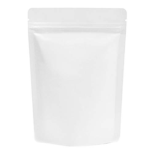 (Price/ 100 PCS) Aspire Foil Lined Stand Up Pouch Bags w/Ziplock and Notch, 4 OZ to 2 LB, 5 mil-Matte White-8oz