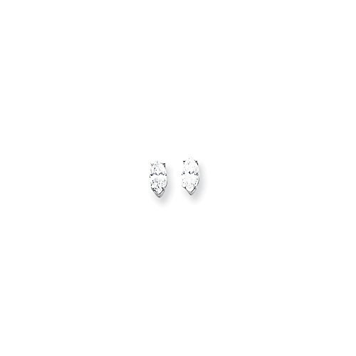 14k White Gold Polished Post Earrings 8x4mm Marquise Cubic Zirconia -