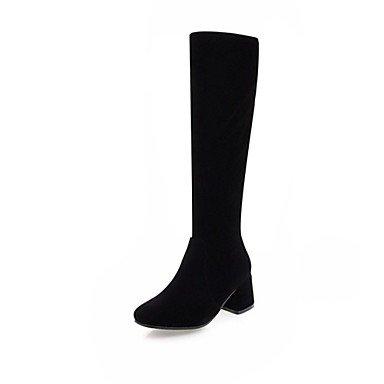 Hiver Mode rond Femme Talon Blanc Noir Décontracté Nouveauté Similicuir Gros Bout Bottes à Bottes Bottes DESY Chaussures Pour Mariage la t4wOdq88