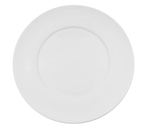 CAC China FDP-23 Paris-French Round 12-Inch Super White Porcelain Thin Flat Design Plate, Box of 12 by CAC China