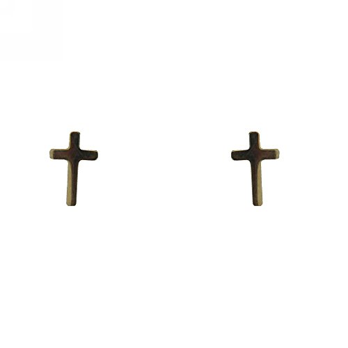 18Kt Yellow Gold Cross Screwback Earrings (6mm X 4mm) by Amalia