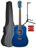 (Oscar Schmidt OG1TBL 3/4 Size Dreadnought Acoustic Guitar (High Gloss Blue))