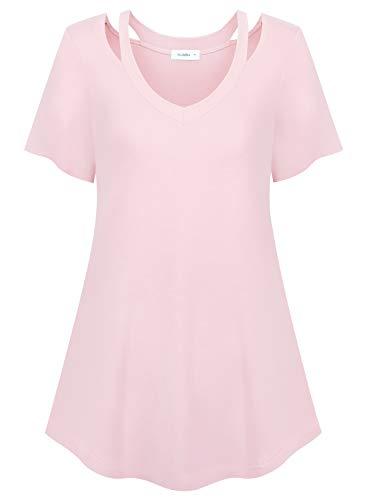 Siddhe Tunic Tops for Legging Women Short Sleeve Flowy Cut Out Long Shirts,Pink M