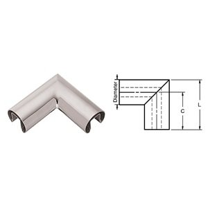 CRL Polished Stainless 90º Horizontal Corner for 1/2'' (12 mm) or 5/8'' (16 mm) Glass Cap Railings
