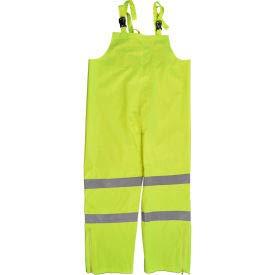 Petra Roc Waterproof Bib Pants, ANSI Class E, 300D Oxford/PU Coating, Lime, XL (LBIP-CE-XL)