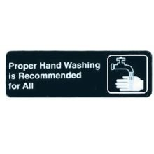 Tablecraft Proper Hand Washing is Recommended for All Sign, 3 x 9 inch - 1 each.