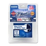 """Brother Tz Lettering Label Tape - 0.75"""""""" Width - 1 Each - Blue, White"""