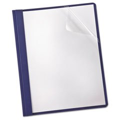 * Linen Finish Clear Front Report Cover, 3 Fasteners, Letter, Navy, 25/Box