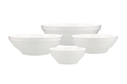 China Large Bowl - Mikasa Swirl Bone China Service Bowls, White (Set of 4)