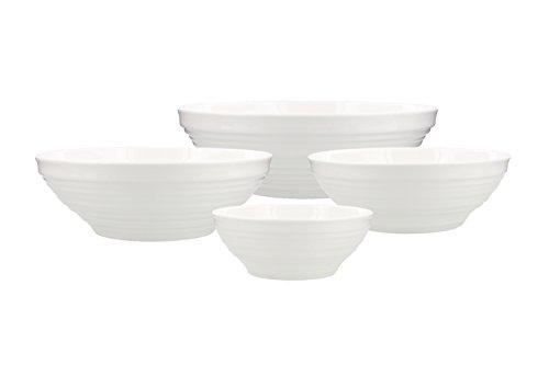 Mikasa Swirl Bone China Service Bowls, White (Set of (Nesting Swirls Set)