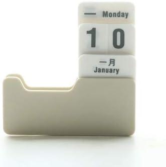 Tischkalender Kalendarien Vintage Style PP Ewigen Kalender DIY Kalender Kunsthandwerk Home Office Schule-Schreibtisch Dekoration Geschenke (Color : Ginger)