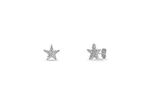 FRONAY 14K Gold Plated Silver Mini Star, Moon, Hamsa, Square, Butterfly, Bar, Snowflake Stud Earrings CZ Simulated Diamond (Silver Lone Star)